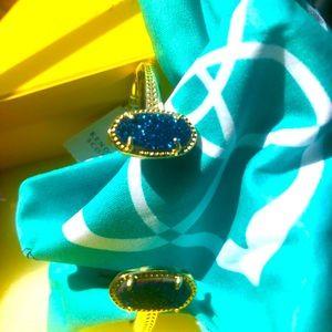 NWT Kendra Scott Elton Bracelet Blue Drusy & Gold!
